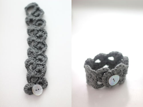 grey wool crochet bracelet