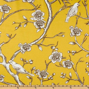 yellow birds fabric