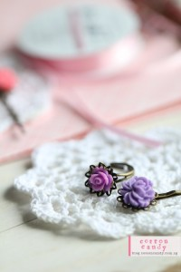 purple hair clip and ring