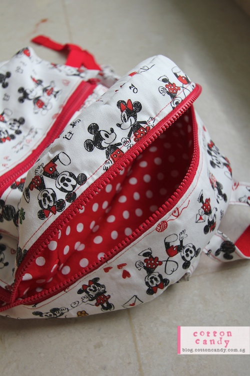 Minnie and Mickey backpack lining